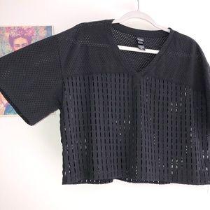 Victoria's Secret Sport Black Mesh Jersey Crop Top